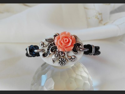 Vintage Style Orange Flower Bracelet