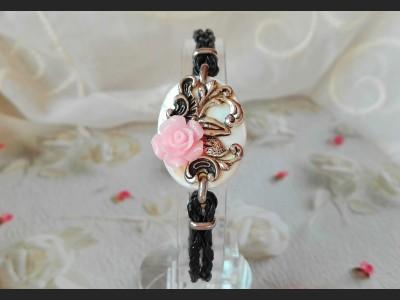 Vintage Style Pink Flower Bracelet