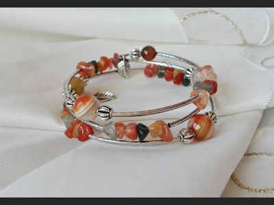 Agate Gemstone Beaded Bracelet