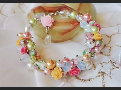 Pearl Rose Cluster Bracelet
