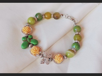 Agate Autumn Rose Bracelet