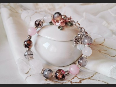 Agate and Rose Quarz Bracelet