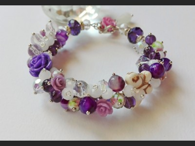 Flower Cluster Purple Bracelet