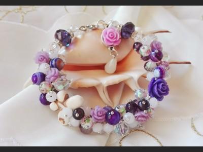 Flower Cluster Purple Bracelet