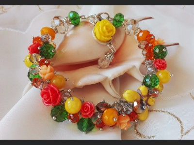 Gemstone and Glass Cluster Bracelet