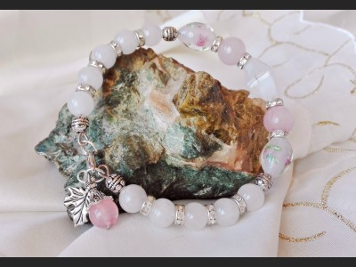 Agate and Rose Quarz Beaded Bracelet