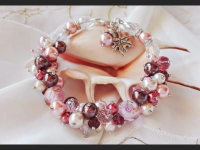 Beaded Cluster Pink Pearl Bracelet