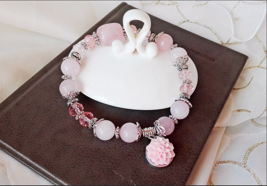 Rose Quarz and Crystal Bracelet