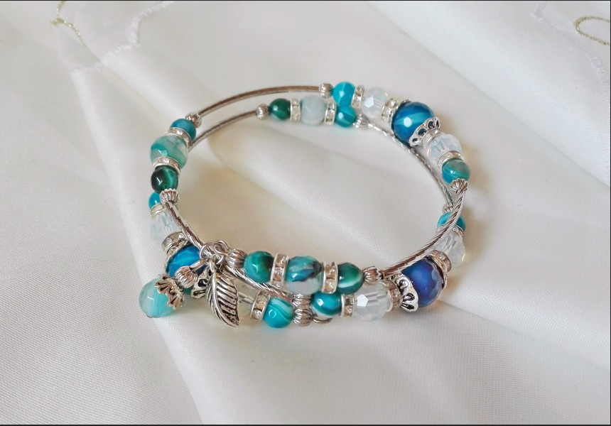 Agate and Opalite Beaded Bracelet