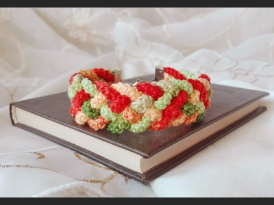 Orange Boho Crochet Bracelet