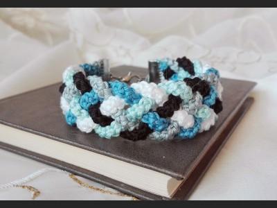 Blue Boho Crochet Bracelet