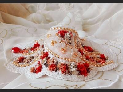 Freeform Crochet Bracelet with Flowers