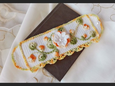 Boho Crochet Cuff  Bracelet