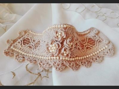 Beaded Crochet Bracelet with Flowers