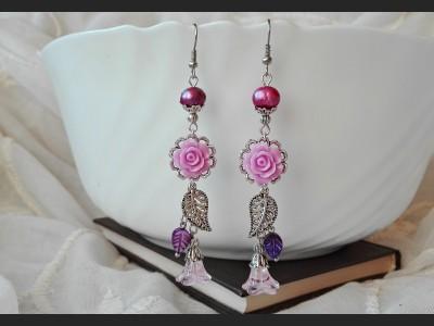 Purple Flower and Pearl Earrings