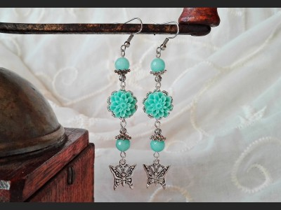 Blue Amazonite Flower Earrings