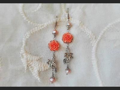 Peach Pearl Flower Earrings
