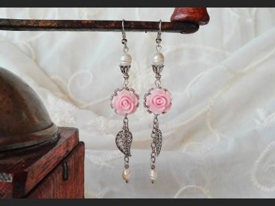 Pearl  Pink Flower Earrings