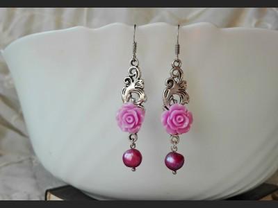 Purple Flower Pearl  Earrings