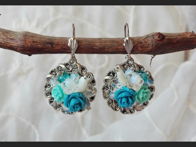 Victorian Blue Flower Earrings