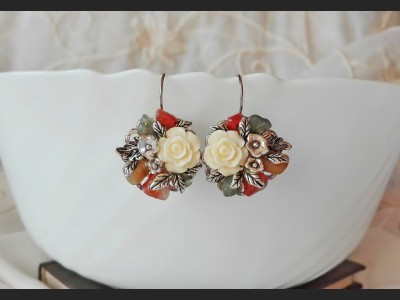 Agate Autumn Flower Earrings