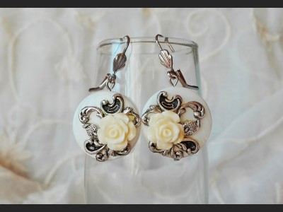 Shell White Rose Earrings