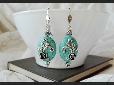 Art Turquoise Flower Earrings