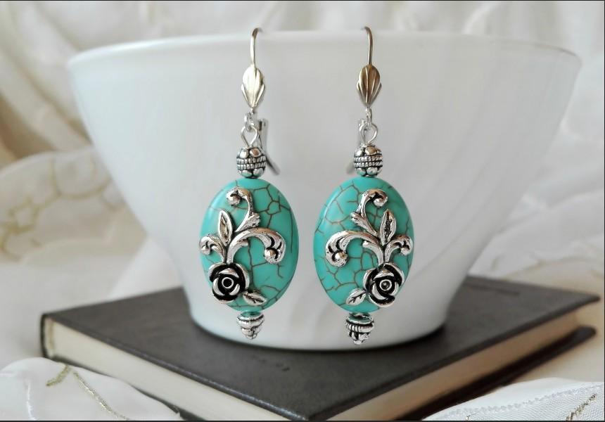 Art Turquoise Flower Earrings