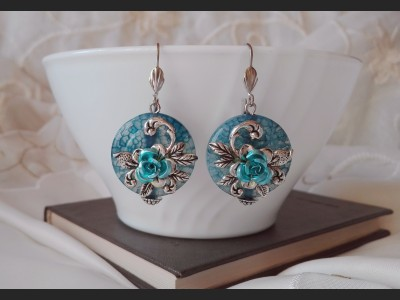 Blue Agate Flower Earrings