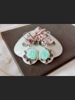 White Shell Blue Rose Earrings