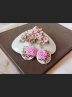 White Shell Purple Rose Earrings