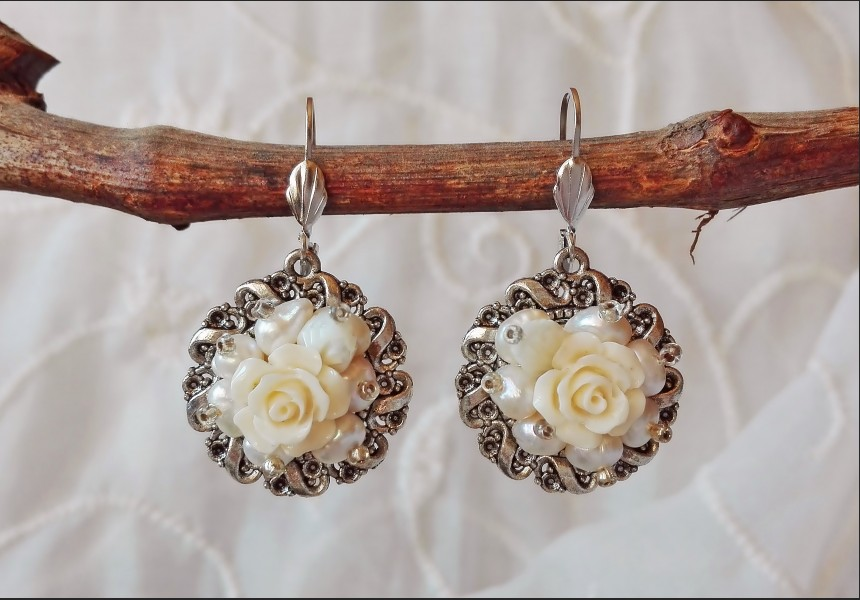 White Pearl Victorian Earrings