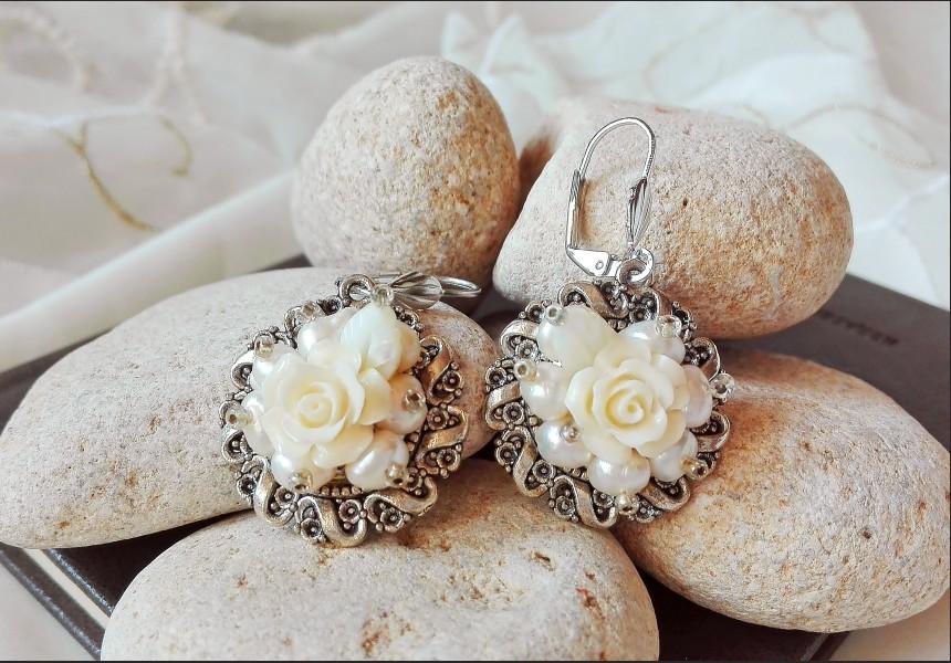 White Pearl Victorian Earrings