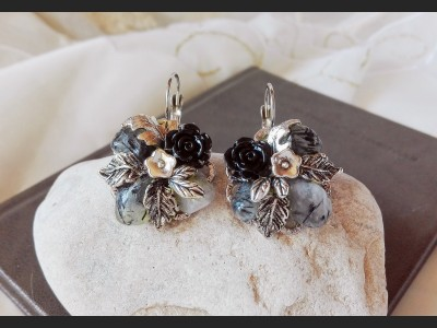 Rutile Quartz Flower Earrings