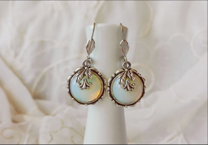 Victorian Cameo Opalite Crystal Earrings