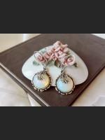 Victorian Cameo Opalite Crystal Earrings