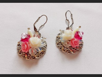 Pink Flower Victorian Earrings