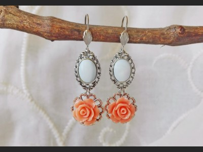 Mother of Pearl Orange Flower Earrings