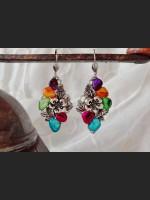 Rainbow Mother of Pearl Shells Art deco Earrings