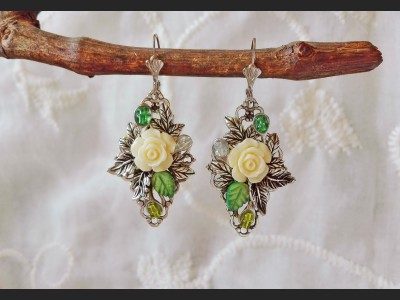 Art Deco Flower Earrings