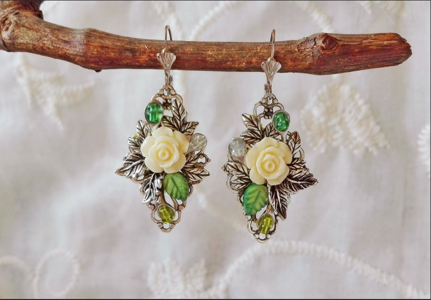 Art Deco Flower Earrings