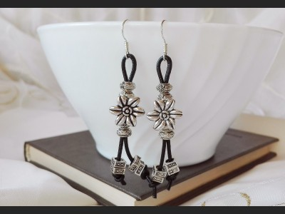 Antique Silver Boho Leather Earrings