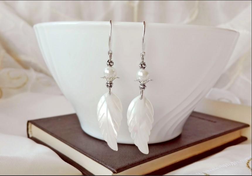 Mother of Pearl Shells Wedding Earrings