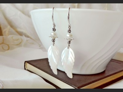 Mother of Pearl Shells Wedding Earrings