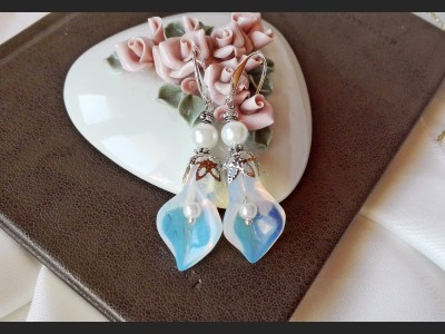 Opalite Calla Lily Wedding Earrings