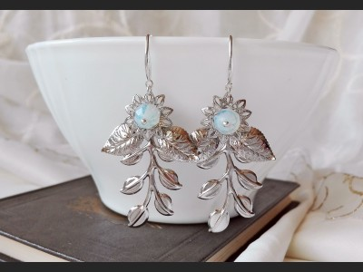 Opalite Floral Wedding Earrings