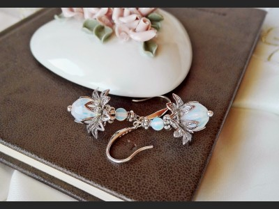 Opalite Flower Wedding Earrings