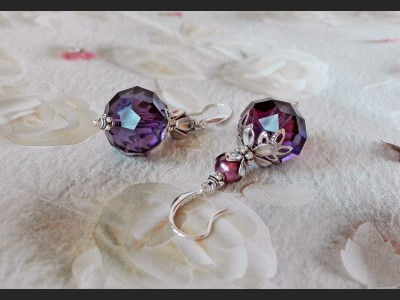 Dark Purple Crystal Bridesmaid Earrings
