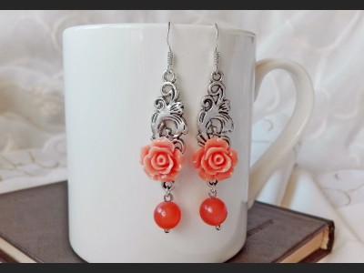 Orange Agate Romantic Earrings
