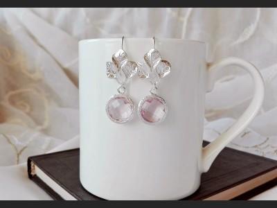Purple Crystal Bridesmaid Earrings